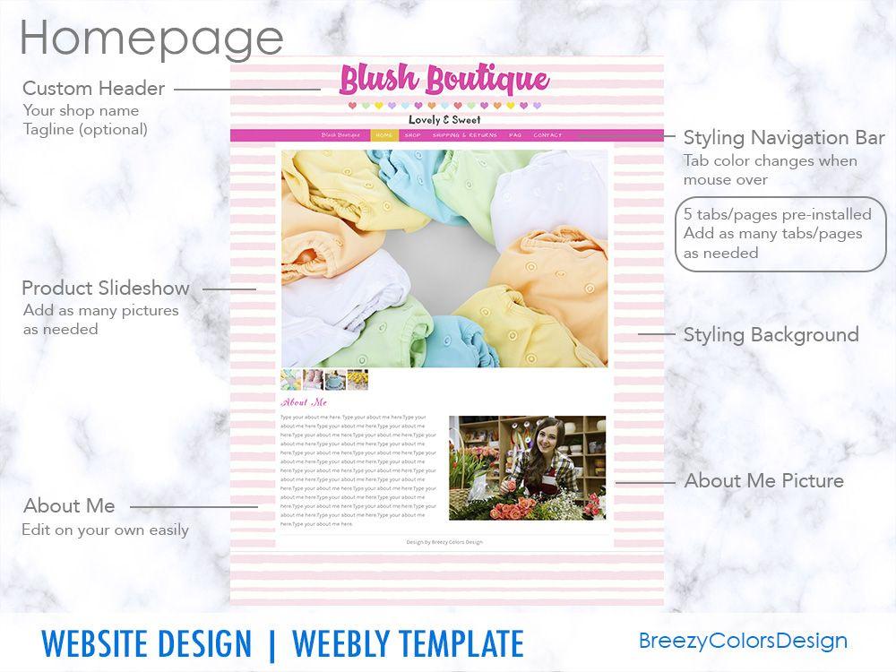 Website Template Boutique Design, Online Store Shop, Weebly