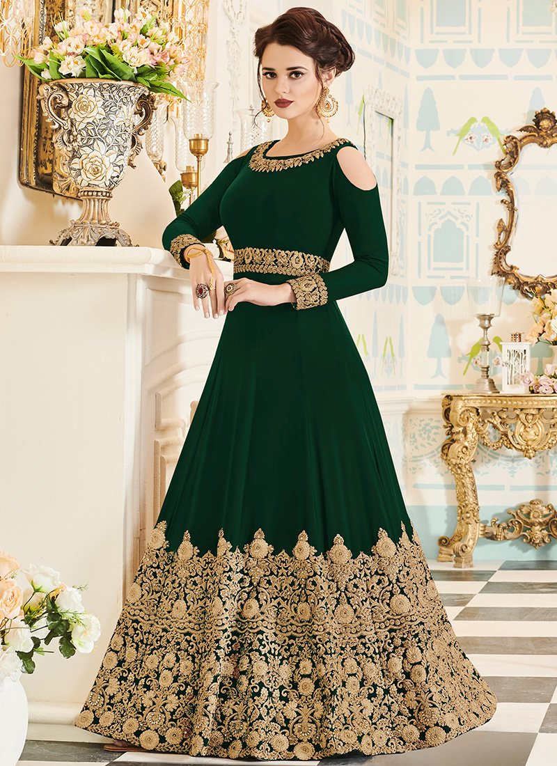 Green and gold embroidered georgette anarkali suit in dress