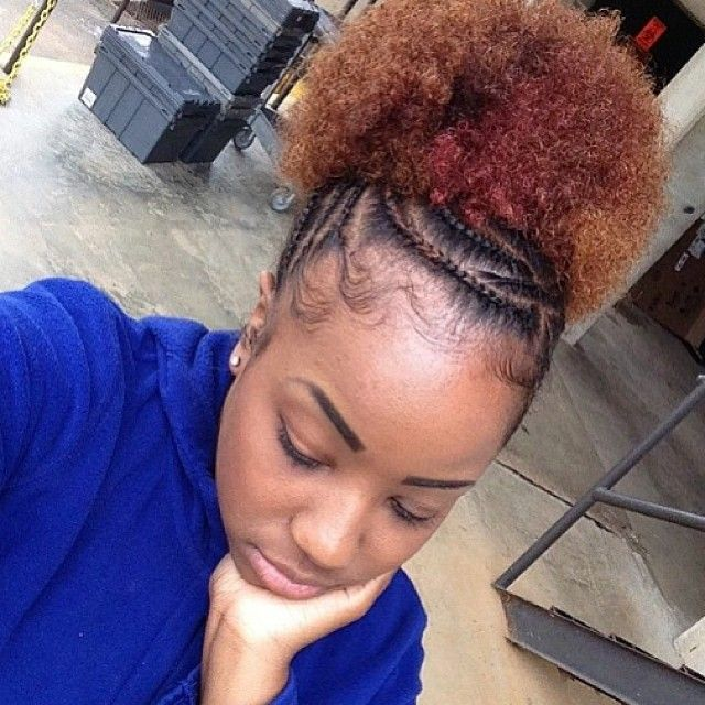 Cute cornrows and color on @selfmade_beauty87. How do you rate your #cornrow skills? #teamnatural #naturalhair