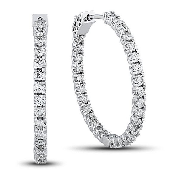 2 7 8 Carat Diamond G Set Hoop Earrings In 14k Gold 48 245 Mxn
