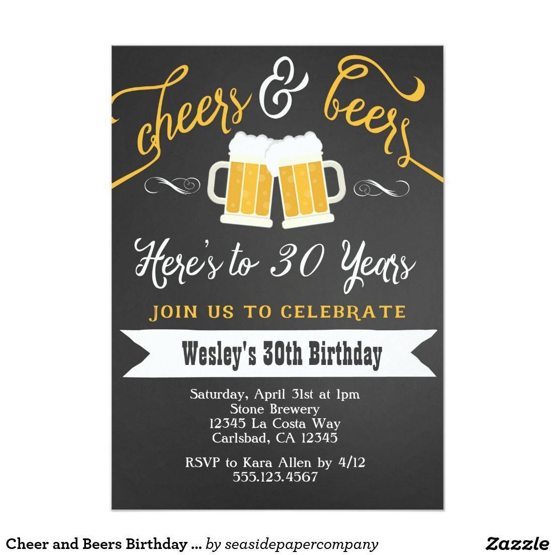 Cheer and Beers Birthday Party Invitation for Men | Party ...