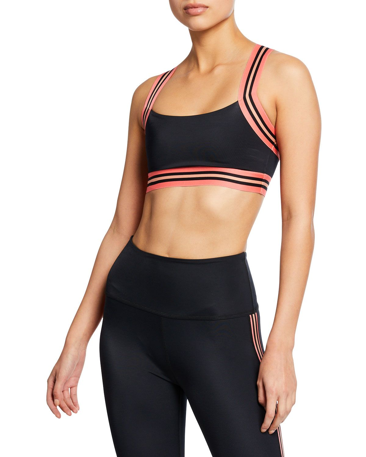 baa9e49e0d8d4 BEYOND YOGA LUX IN BLOOM VARSITY STRIPE CRISSCROSS SPORTS BRA.  beyondyoga   cloth