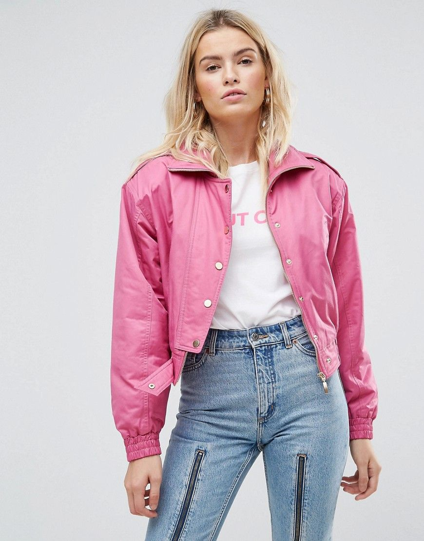 840e76e69501 ASOS 80 s Bomber Jacket in Hot Pink - Pink