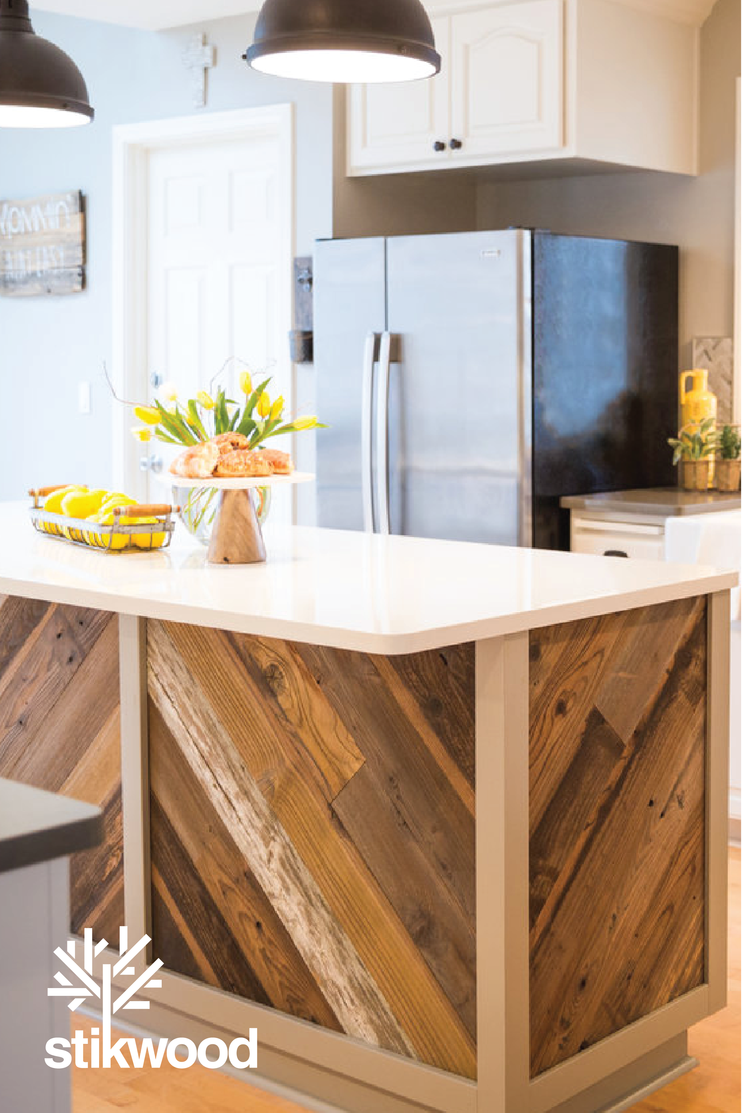Wood Plank Kitchen Islands Using Stikwood In 2020 Wood Kitchen Island Reclaimed Wood Kitchen Island Kitchen Island Back Panels