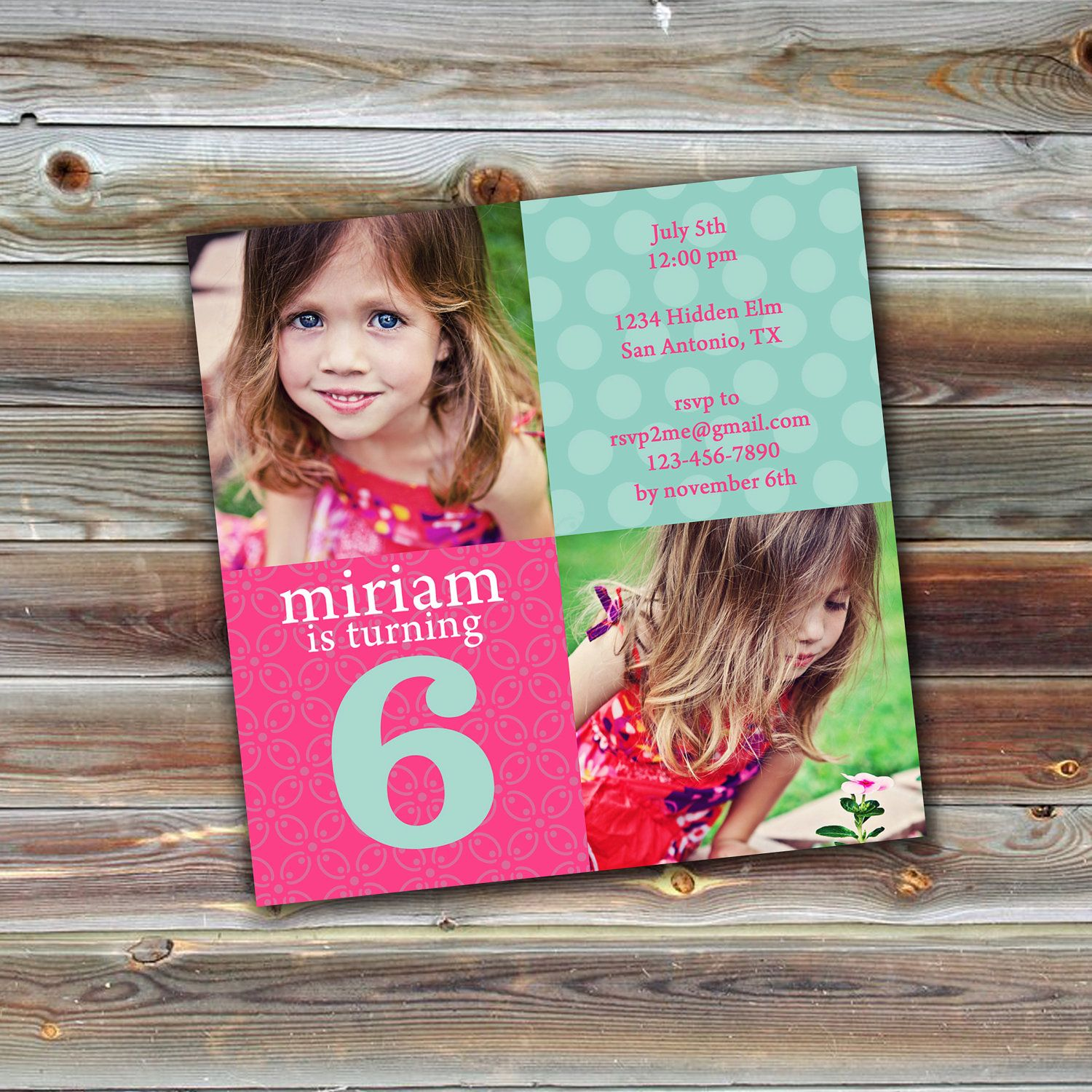 0563 5x5 Birthday Invitation Photoshop PSD Photo Card Template For Photographers