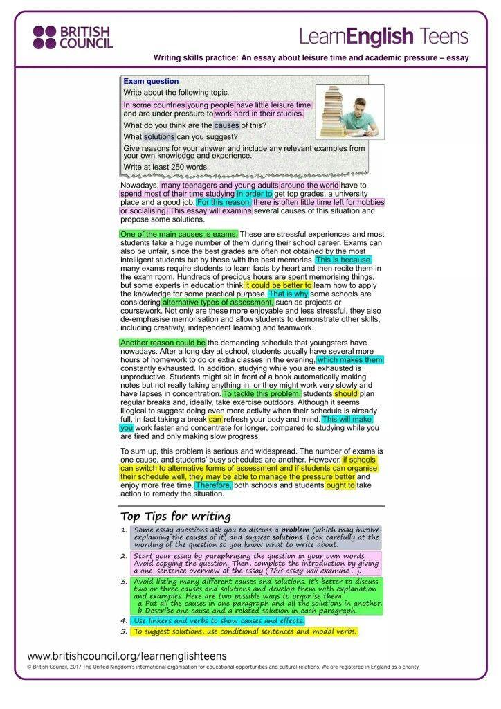Studie Pression Essay Writing Skill English Vocabulary Words International Relation Question