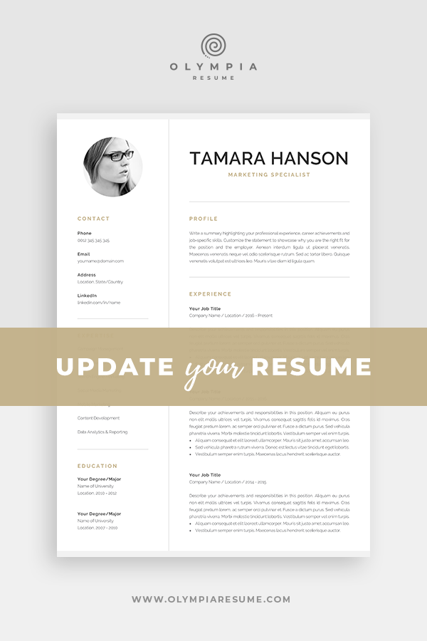 Modern Cv Template With Photo 1 2 Page Resume Etsy One Page Resume Template Creative Cv Template Creative Resume Templates