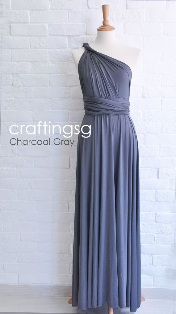 7d42073cc55 Bridesmaid Dress Infinity Dress Charcoal Grey Floor Length Wrap Convertible  Dress Wedding Dress on Etsy