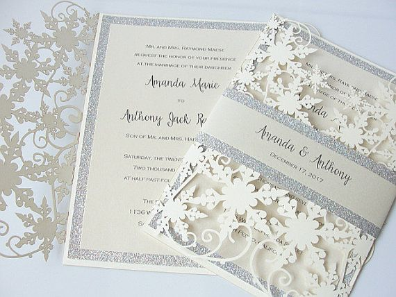 Lasercut Winter Wedding Invitation Crystal Glitz Deposit