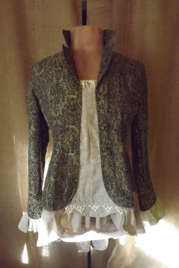 victorian inspired lagenlook tapestry bustle tunic jacket with embroidered linen and vintage. Black Bedroom Furniture Sets. Home Design Ideas