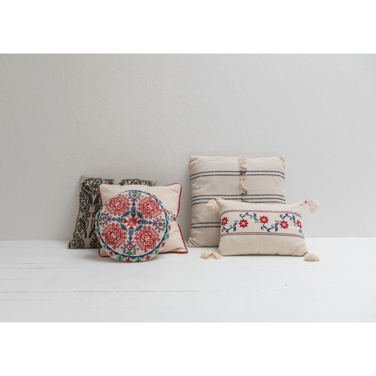 Photo of Square Embroidered Bird Silhouette  Cotton Pillow
