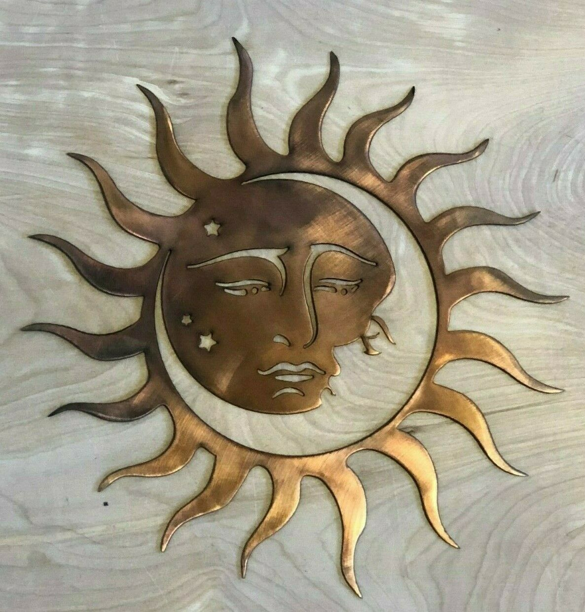 Sun And Moon Wall Metal Art Hanging With Rustic Copper Finish In 2020 Moon Wall Art Metal Sun Wall Art Hanging Art