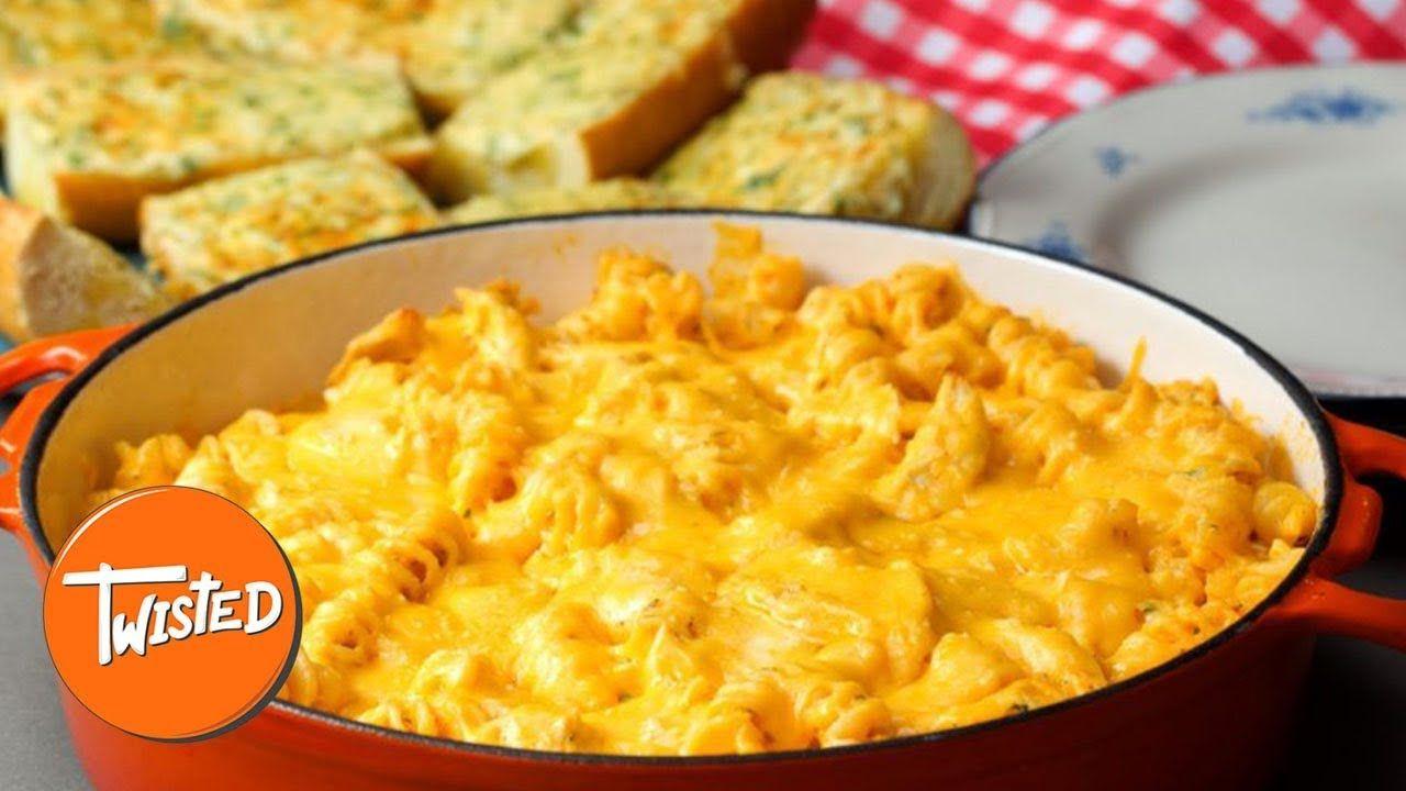 Buffalo Chicken Pasta Bake And Cheesy Garlic Bread Recipe   Twisted #buffalochickenpastasalad