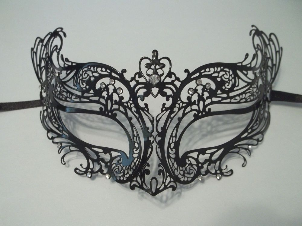 1 GLOSSY BLACK VENETIAN STYLE MASKS. Photo should be considered an example. Markings, glitter work, glue placement, feathers size, shapes, etc may be different on each mask. High Quality Metal Filigree.   eBay!