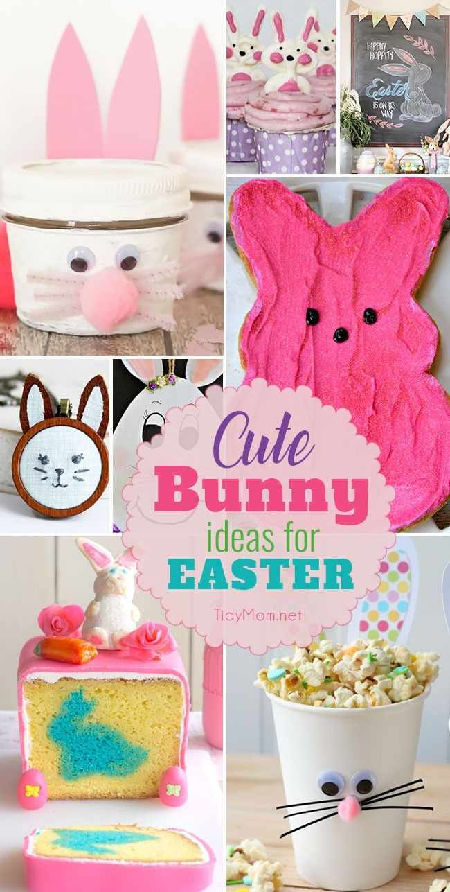 Cute Bunny Ideas for Easter, from Easter Bunny inside cakes to cupcake toppers, jars, cups, treats and more!
