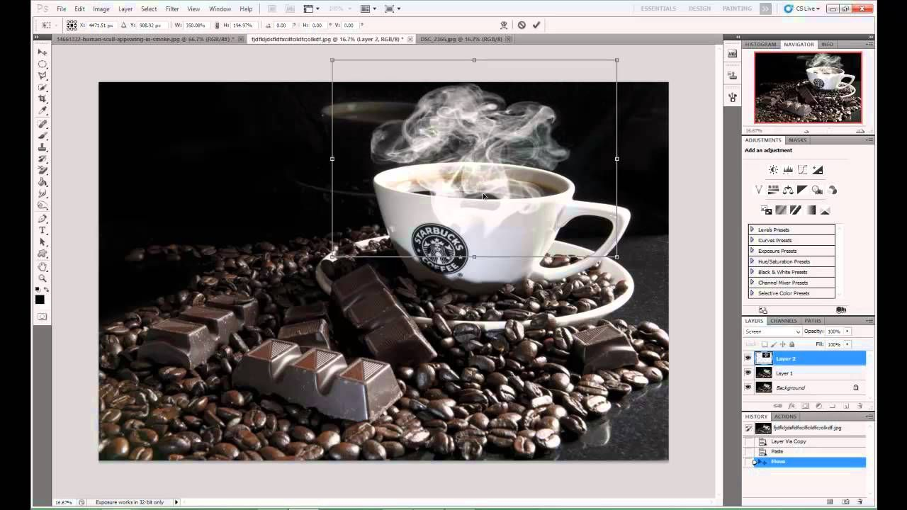 How to make steam on a hot cup of coffee in photo shop