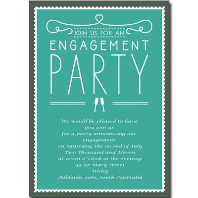 Green Engagement Party Invitations Aue016 Graphic Design