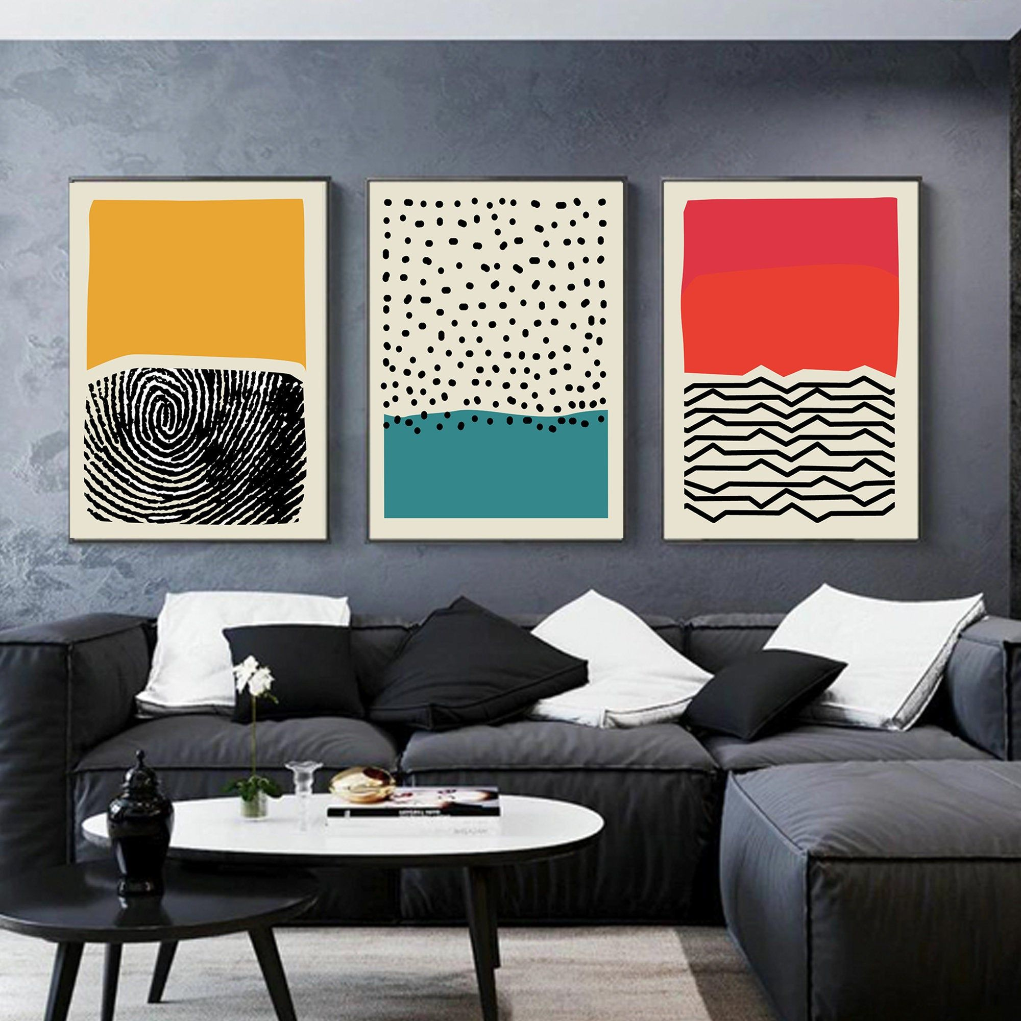 Abstract Color Block Wall Art Set Of 3 Home Decor Digital Etsy Modern Canvas Art Wall Art Canvas Painting Modern Art Prints