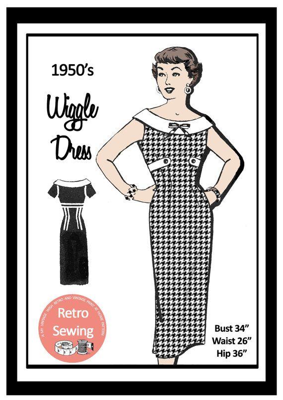 1950s Wiggle Dress Sewing Pattern - Rockabilly - Pin Up - PDF Sewing ...