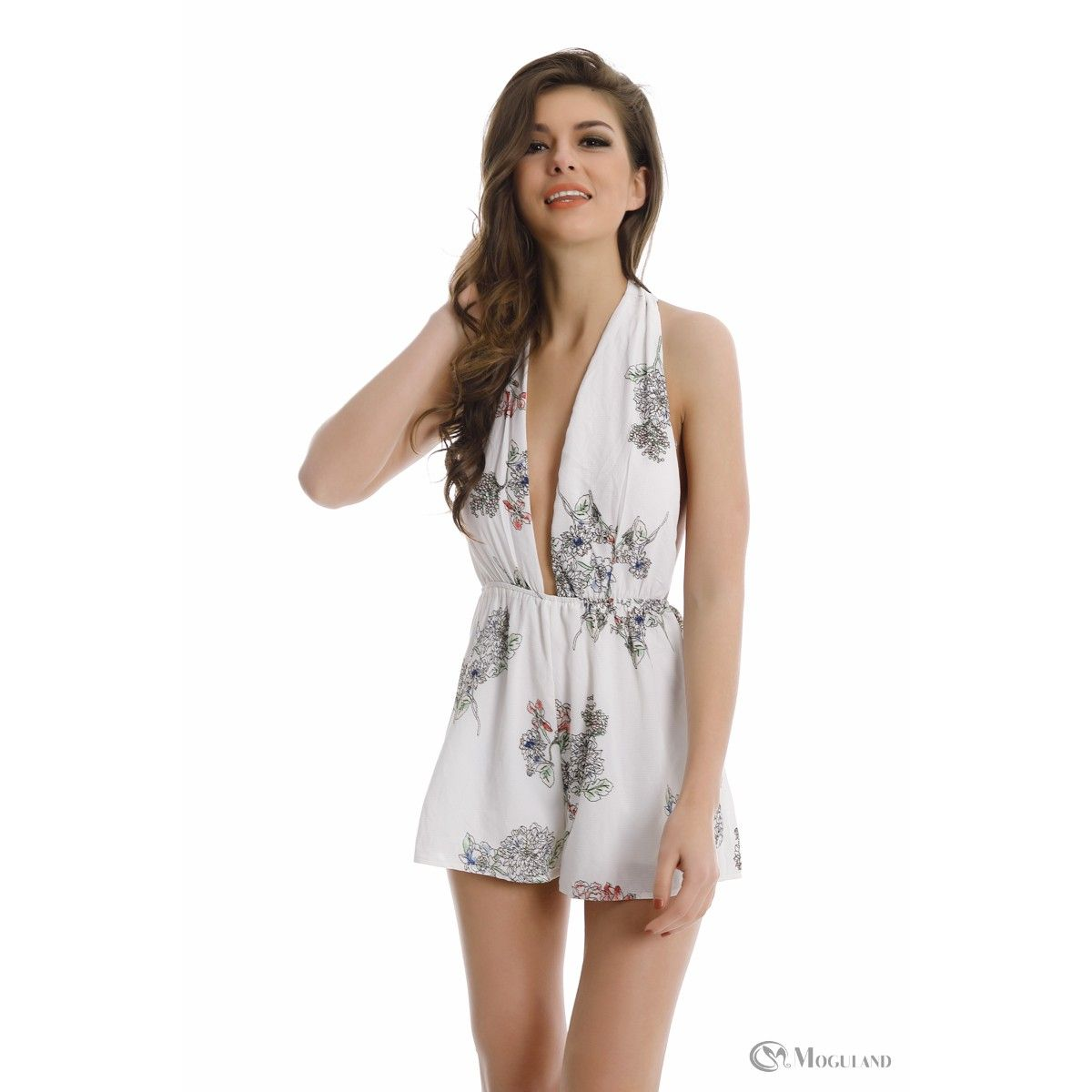 6a41e2ac9a Ladies white floral print plunge halterneck playsuit wholesale - new  in  playsuits - Women s Wholesale Clothing Supplier