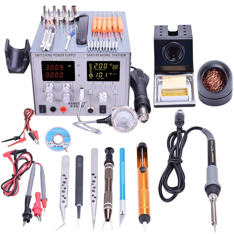 US YIHUA 4 in1 853D USB 2A Soldering Station Rework Hot Air Gun Solder Iron 110V