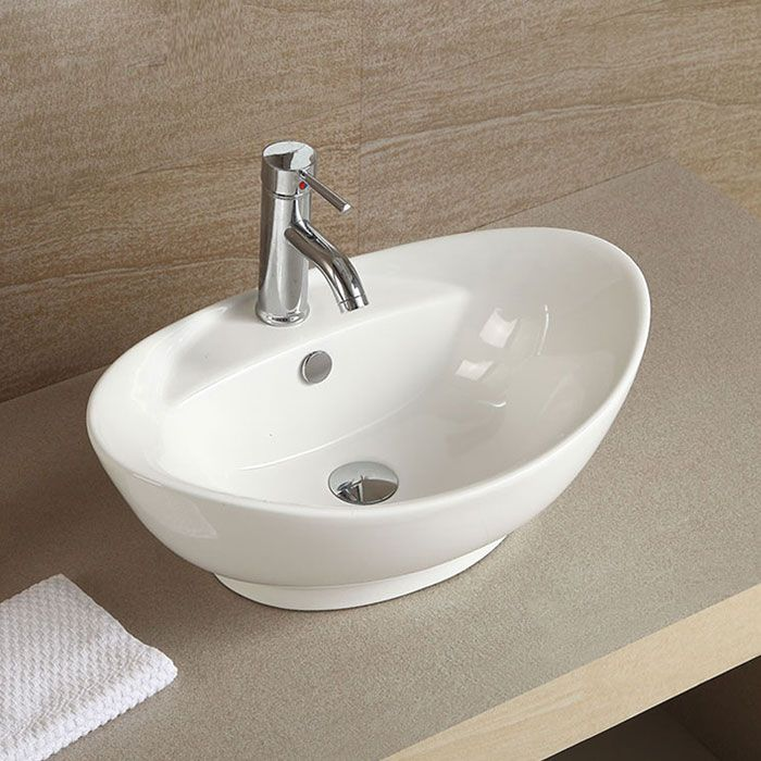 White Oval Ceramic Above Counter Vessel Sink Delicate And