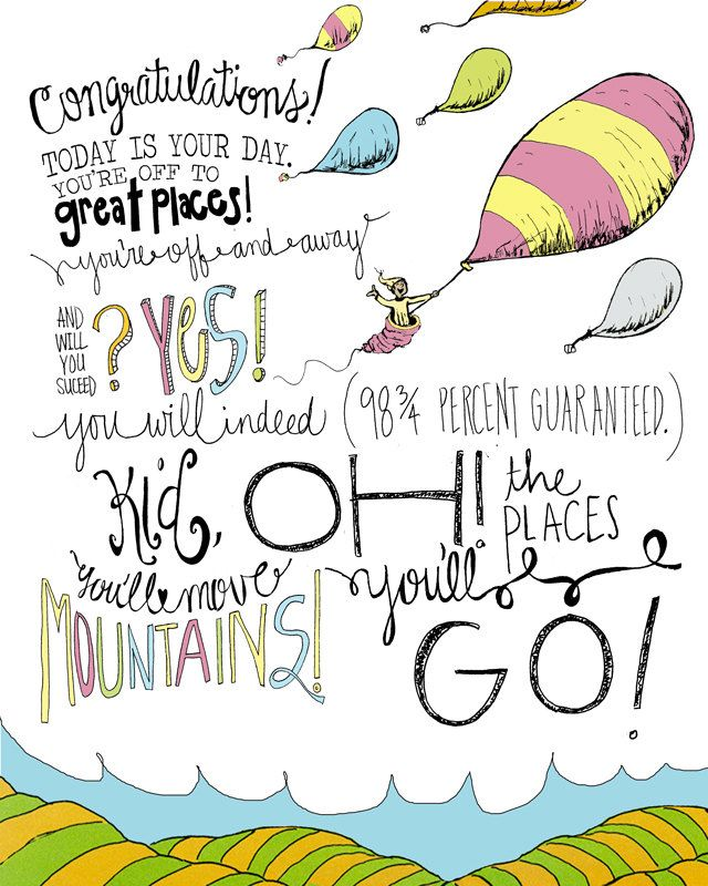 "Dr. Seuss ""Oh The Places You'll Go"" 8x10 Wall Print Hand"