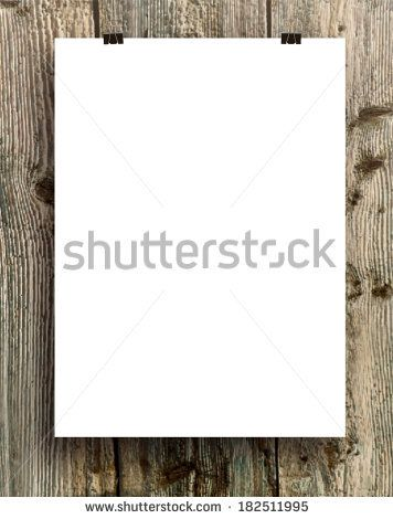 blank white folding paper flyer on a wooden background