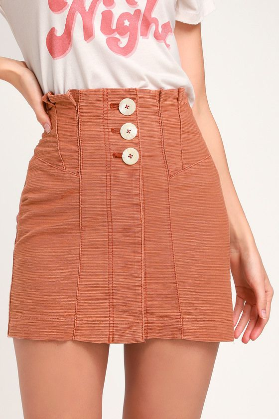 f8377095c Lulus   Every Minute Every Hour Terra Cotta Button-Up Mini Skirt   Size 12