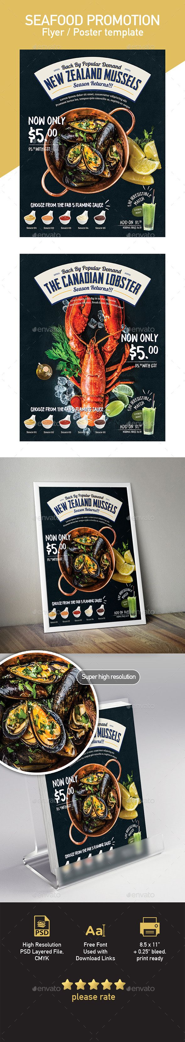 Seafood Poster / Flyer Menu Template — Photoshop PSD #magazine #food • Download ➝ https://graphicriver.net/item/seafood-poster-flyer-menu-template/20133512?ref=pxcr