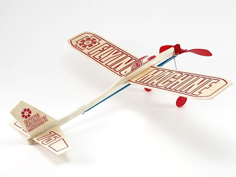 Guillows 75 Flying Machine Rubber Band Powered Balsa Model Airplane