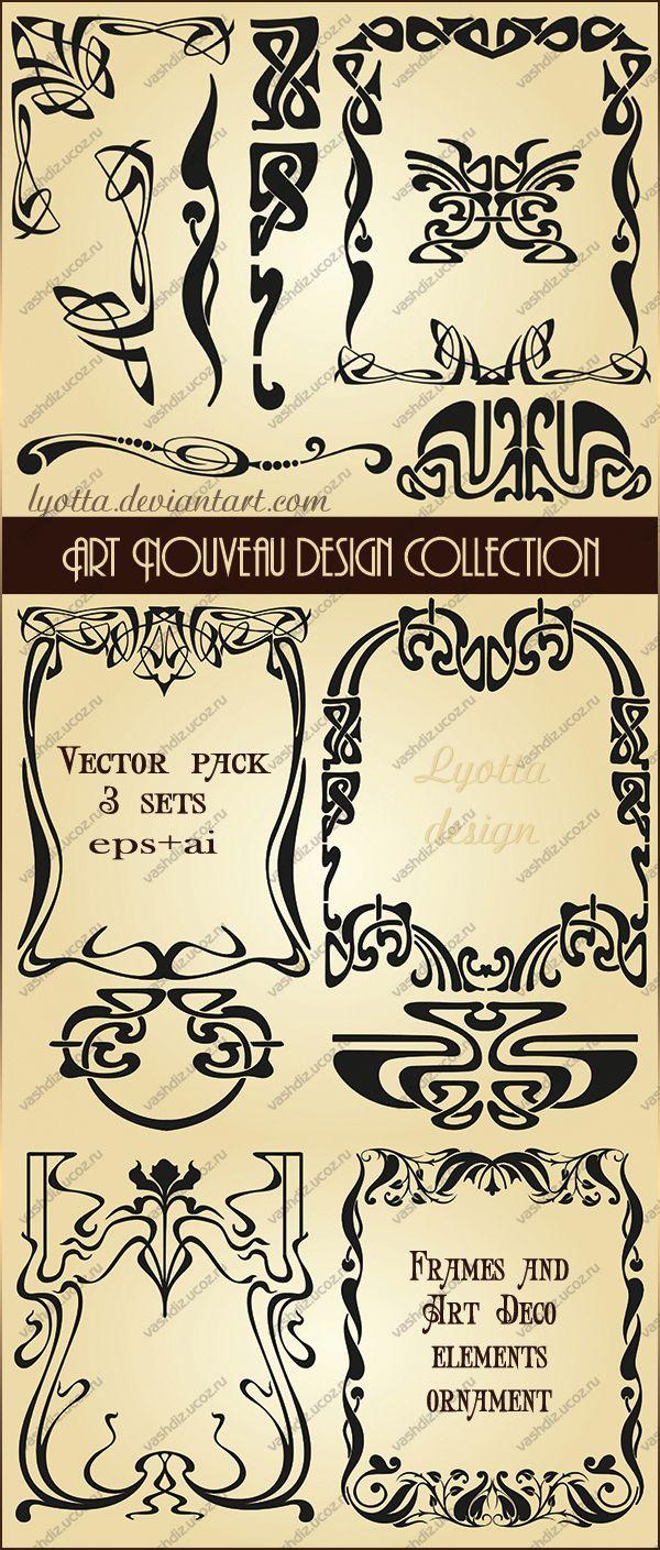 Art Nouveau design collection. Vector set by Lyotta.deviantart.com on @deviantART #framesandborders