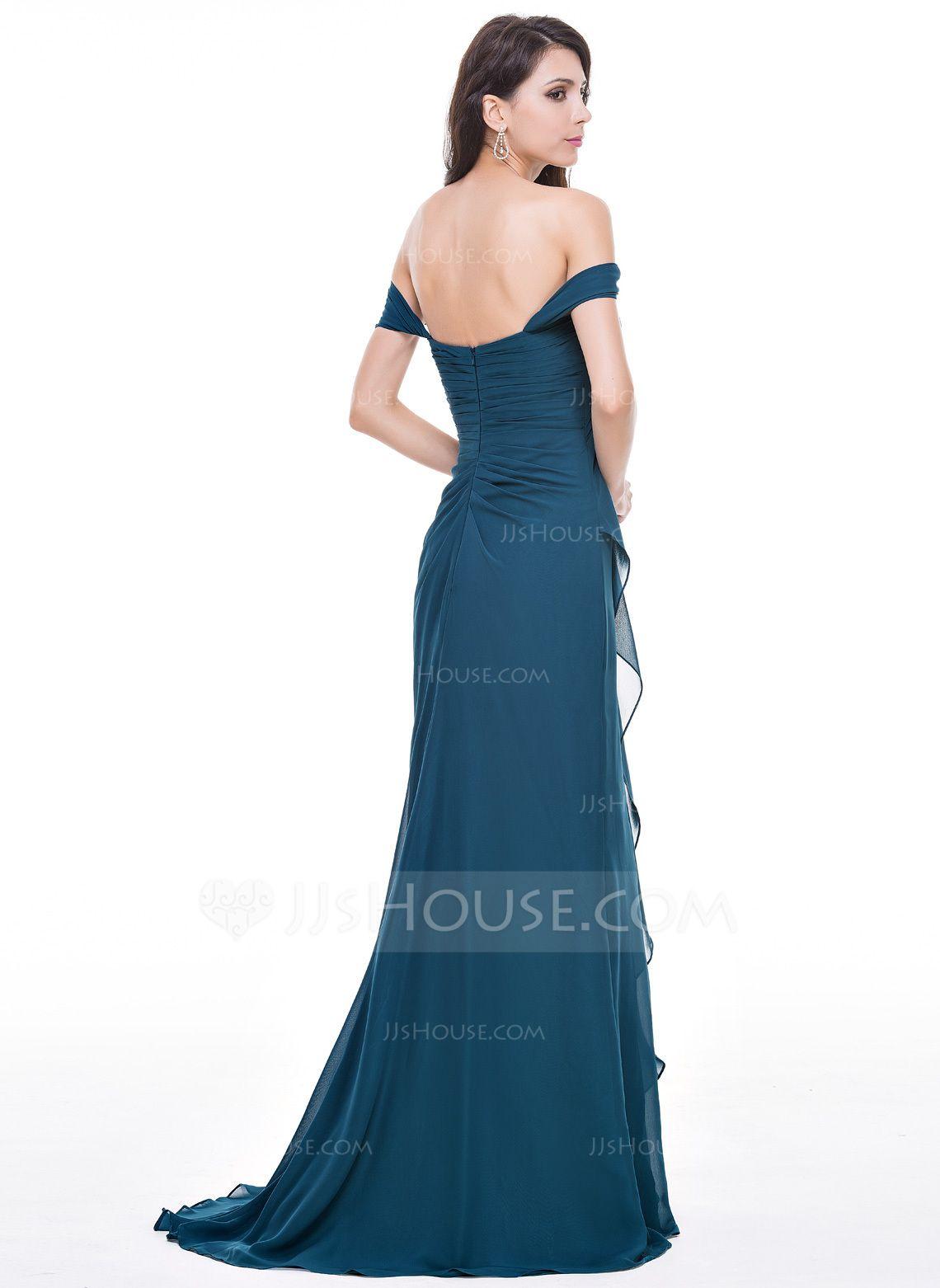 Alineprincess offtheshoulder sweep train chiffon evening dress