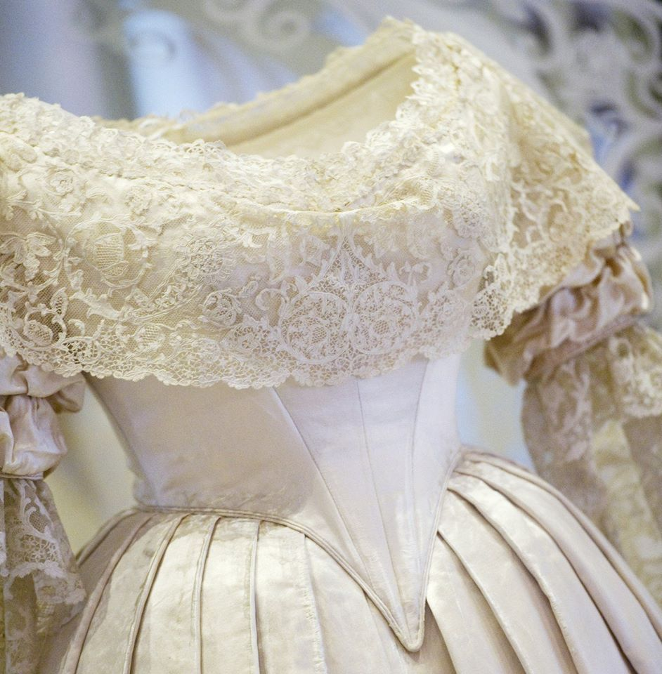 a close-up of Queen Victoria's wedding gown