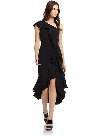 Carmen Marc Valvo - Silk Georgette One-Shoulder Ruffle Gown - Saks.com