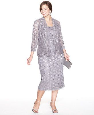 2e8697a1c1e Alex Evenings Plus Size Sequin Lace Dress and Jacket - macys