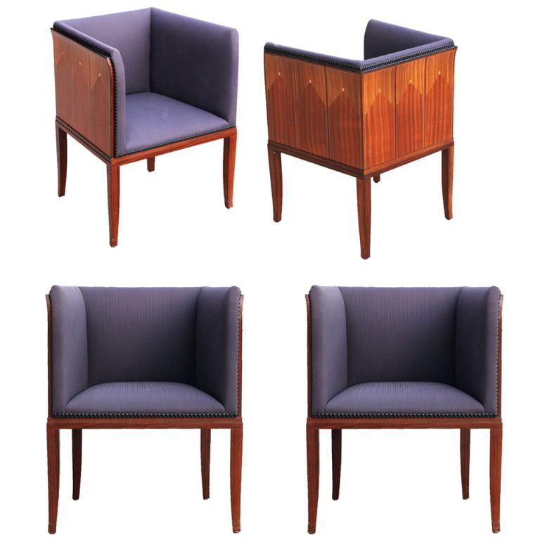 Eliel saarinen art deco house arm chairs set of four for Eliel saarinen furniture
