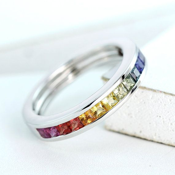 LGBT Pride Ring Engagement Wedding Band Sterling Silver Unisex