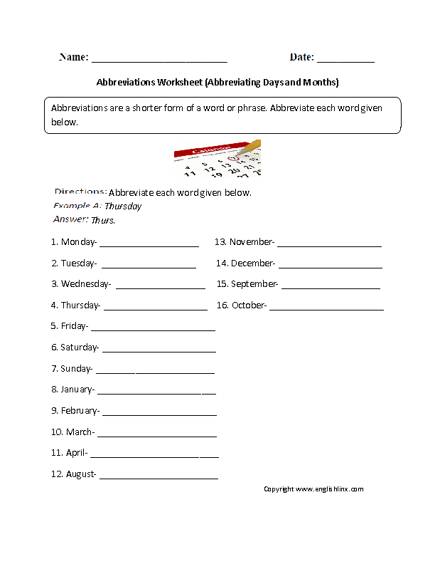 Abbreviating Days and Months Abbreviations Worksheet | Great English ...