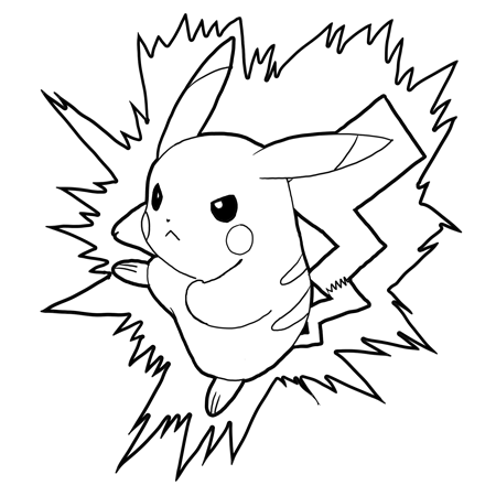 how to draw pikachu attacking in battle