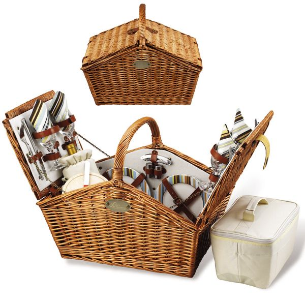 The Huntsman Willow Picnic Basket has a traditional style. Hand crafted using full reed willow, this generously sized basket is made to last. Easy to pack, carry, and enjoy, it includes quality components including ceramic plates and glass wine glasses.  Includes: (4) ceramic plates, glass wine glasses, stainless flatware, cotton napkins, (1) food cooler, insulated wine pouch, hardwood cutting board, spill proof salt & pepper shakers, wood handle, etc.