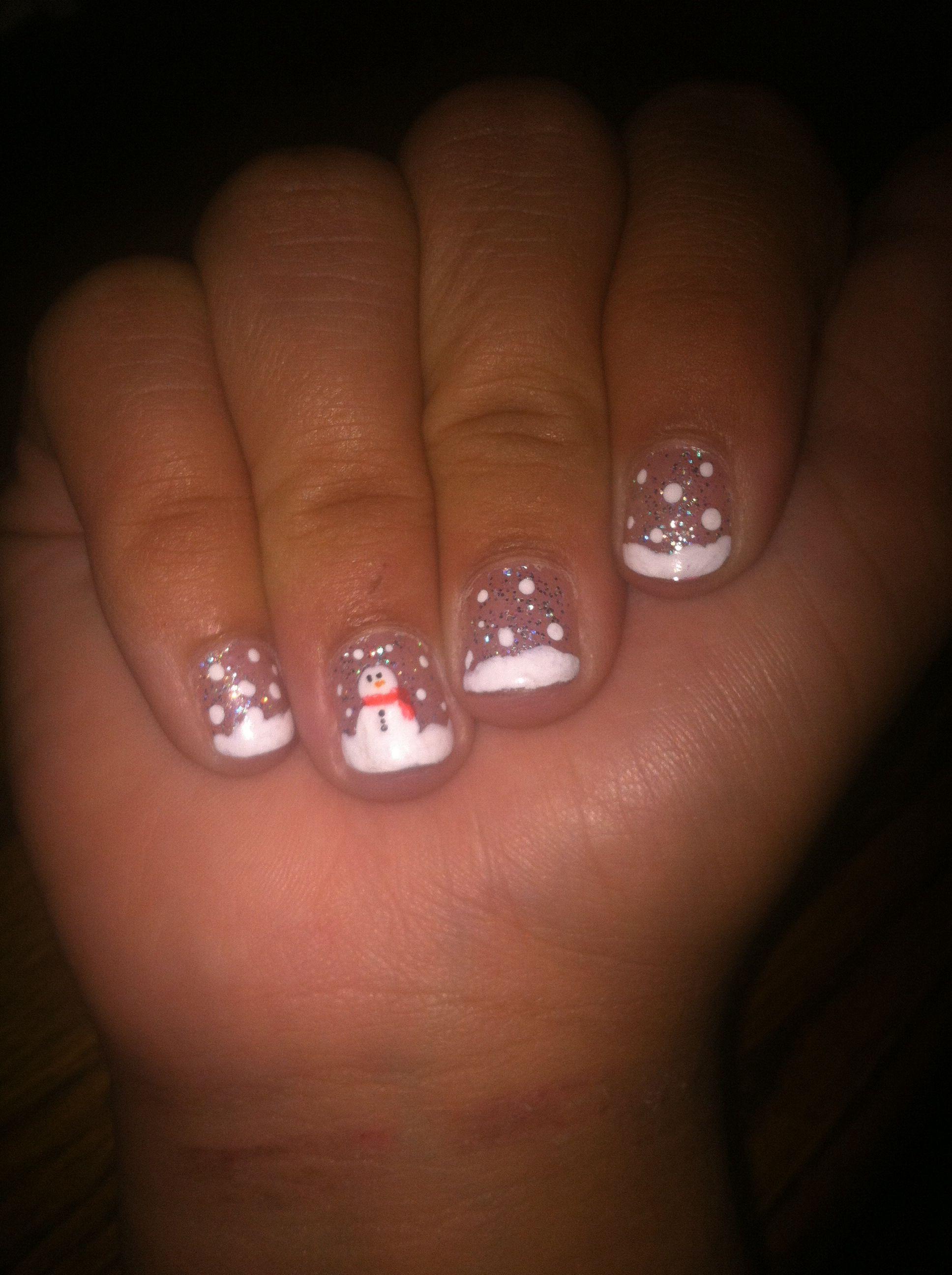 cute snowmen winter nails