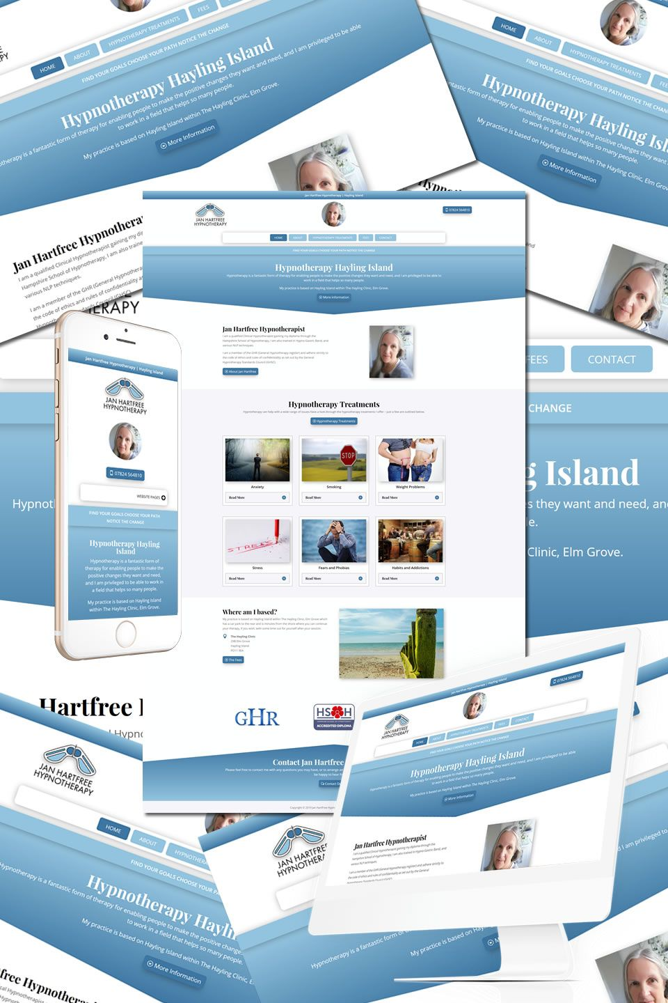 The New Website For Jan Hartfree Hypnotherapy In Hayling Island Https Hostcat Co Uk Project Jan Hartfree Hyp Portfolio Web Design Web Design Portfolio Design