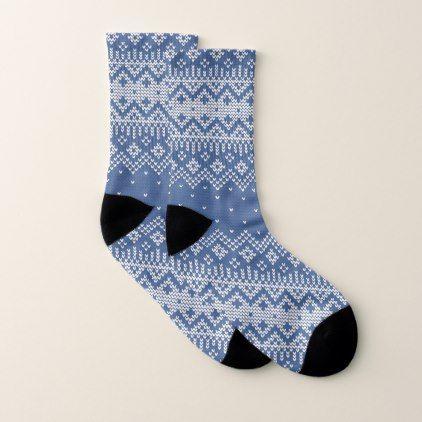 Christmas White & Blue Fair Isle Knitting Pattern Socks   Fair ...