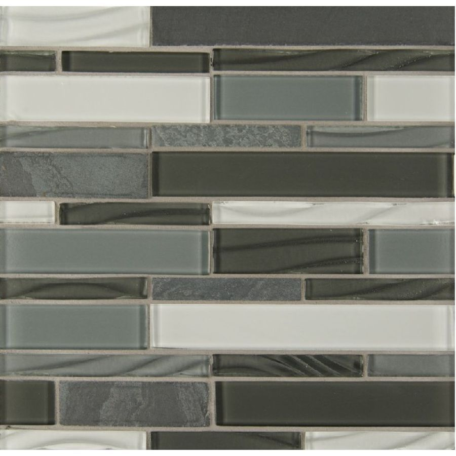 Bedrosians intrigue mosaics pewter grey subway mosaic glassmetal