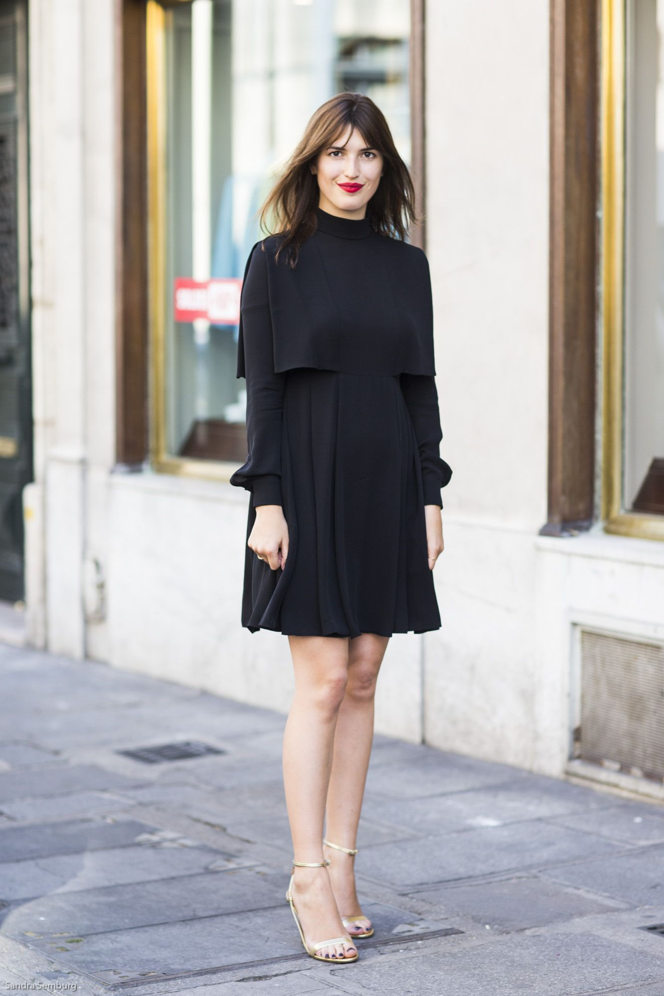 Black dress with red lipstick - Jeane Damas In Classy Little Black Dress Red Lipstick Gold Sandals Street