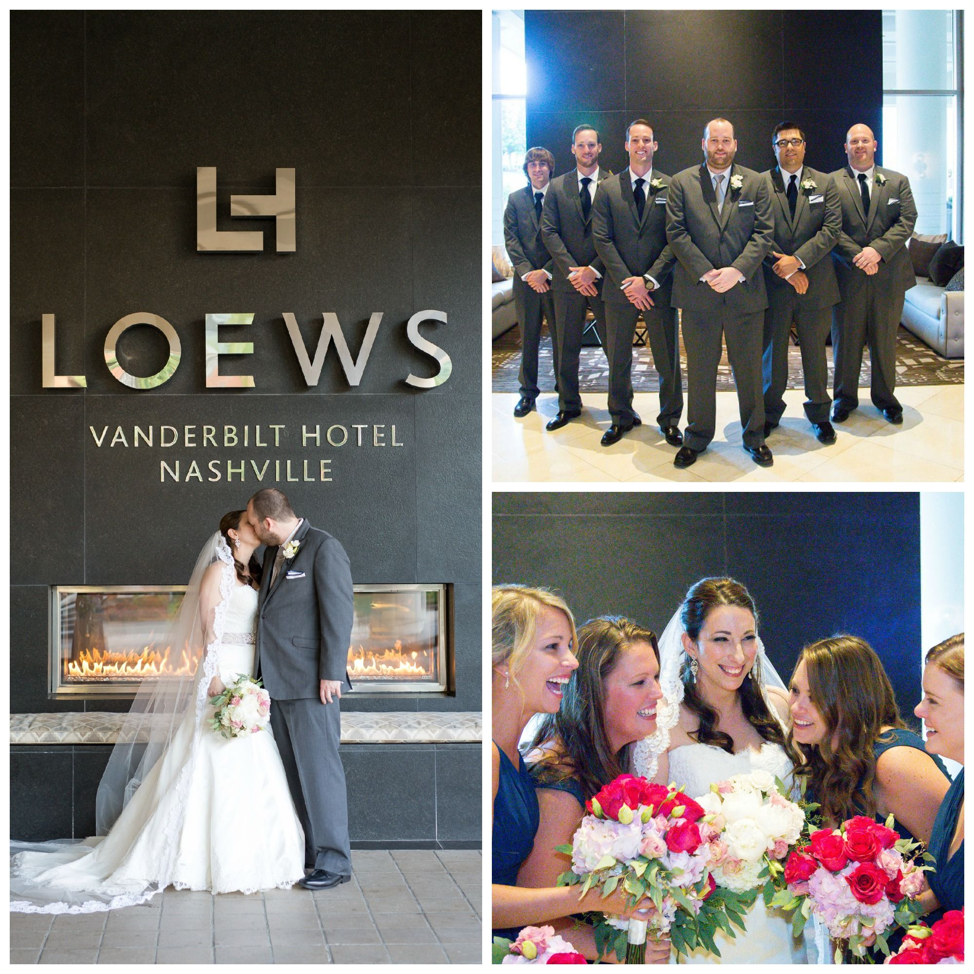 We love the color scheme from this wedding the grey suits