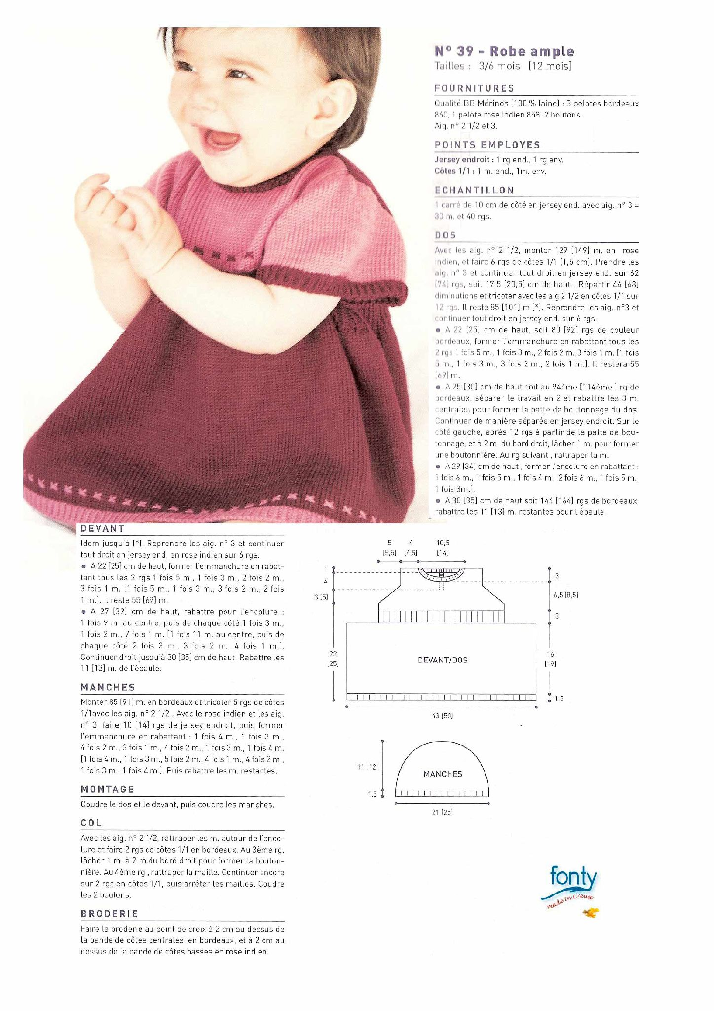 Modele tricot layette gratuit robe