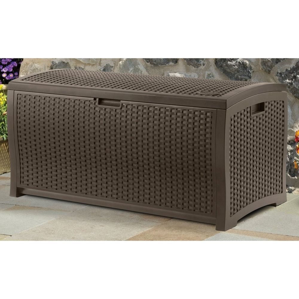 Mocha Suncast Wicker Resin Deck Storage Box Trunk Outdoor Patio
