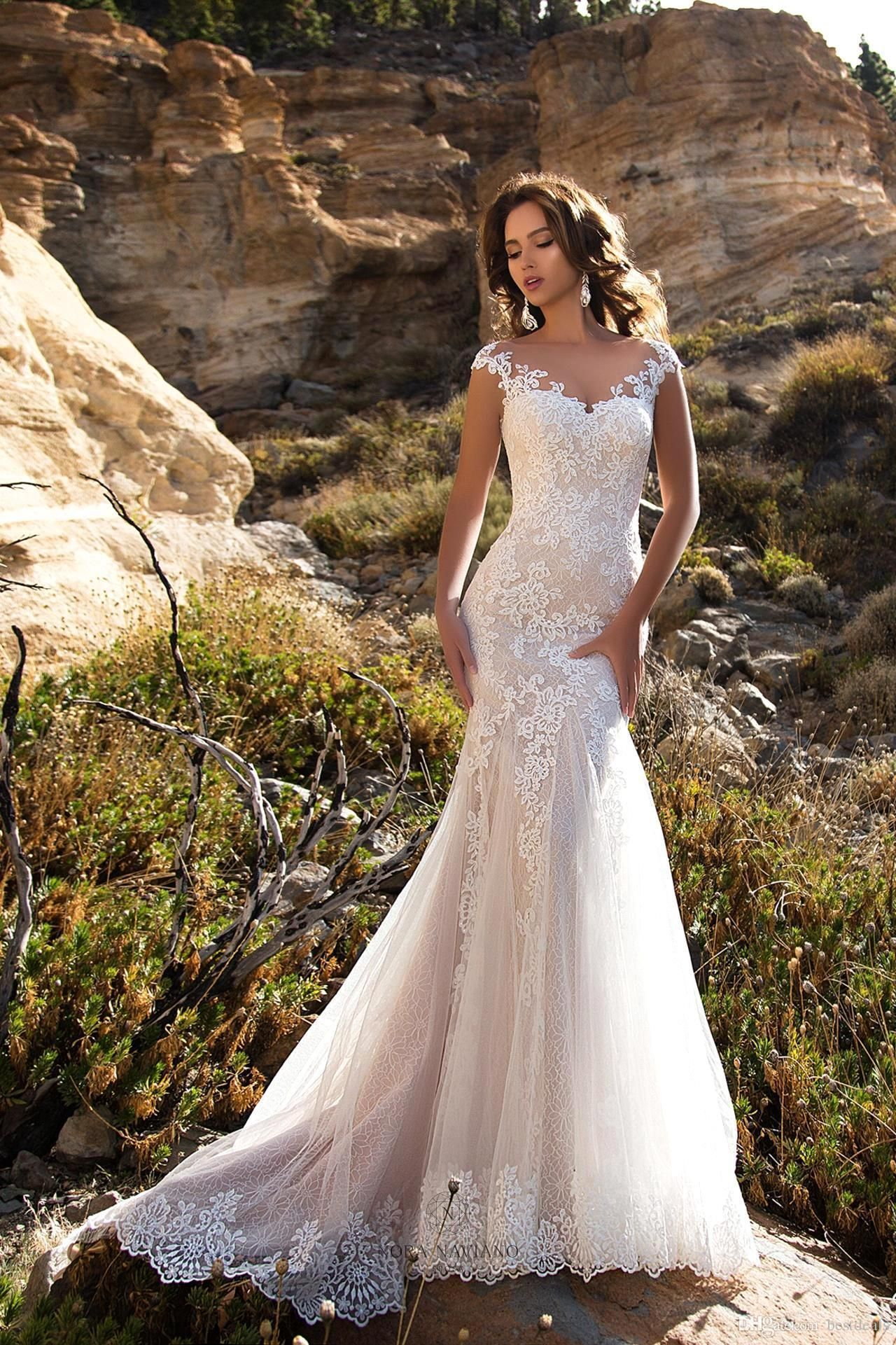 Casual wedding dress with sleeves   Lace Mermaid Wedding Dresses Sheer Cap Sleeves Lace Applique